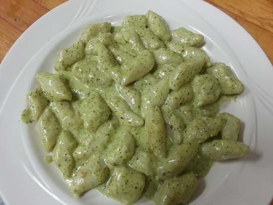 ... in your choice of a creamy pesto sauce or a light marinara sauce
